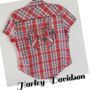 HARLEY DAVIDSON plaid studded top